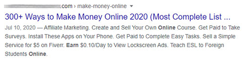300 ways to make money online google search result