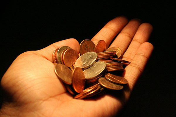 hand holding a few coins