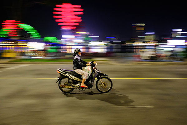 a motorcyclist going fast