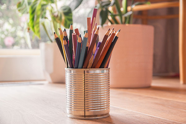 coloring pencils in a holder