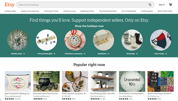 Etsy Homepage & Storefront