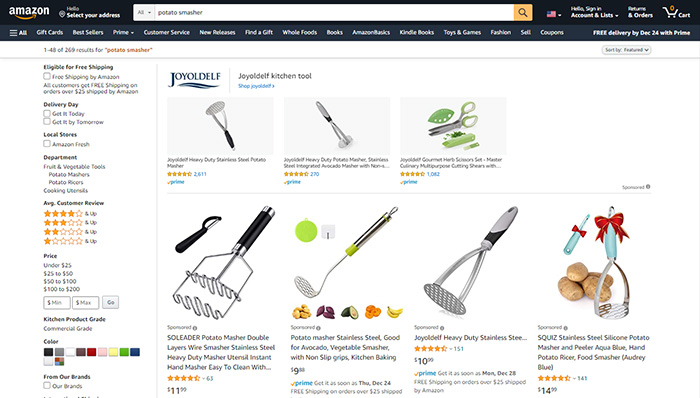 Amazon online marketplace search result page