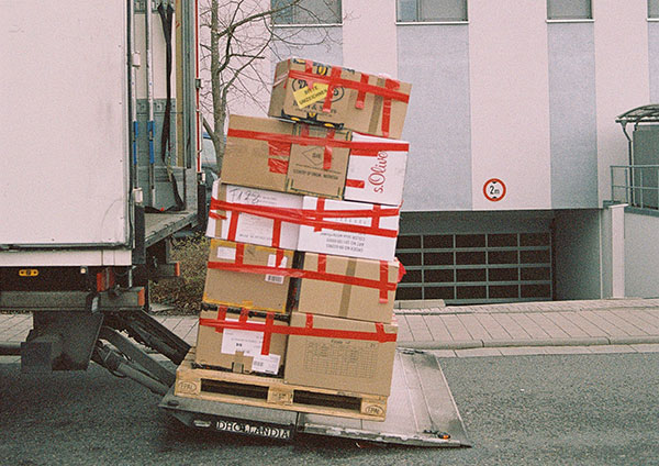 A lot of packages on lift
