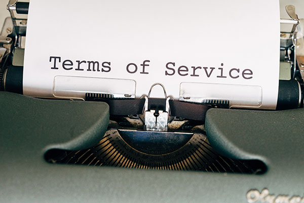 Terms of Service written on paper