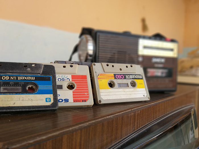 Old school cassette tapes and a radio